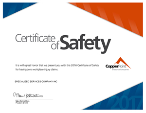 Certificate of Safety 2016